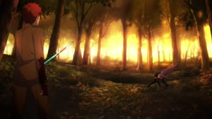 Rating: Safe Score: 21 Tags: animated effects fate_series fate/stay_night_unlimited_blade_works_(2014) fighting hair keita_shimizu smoke sparks User: paeses
