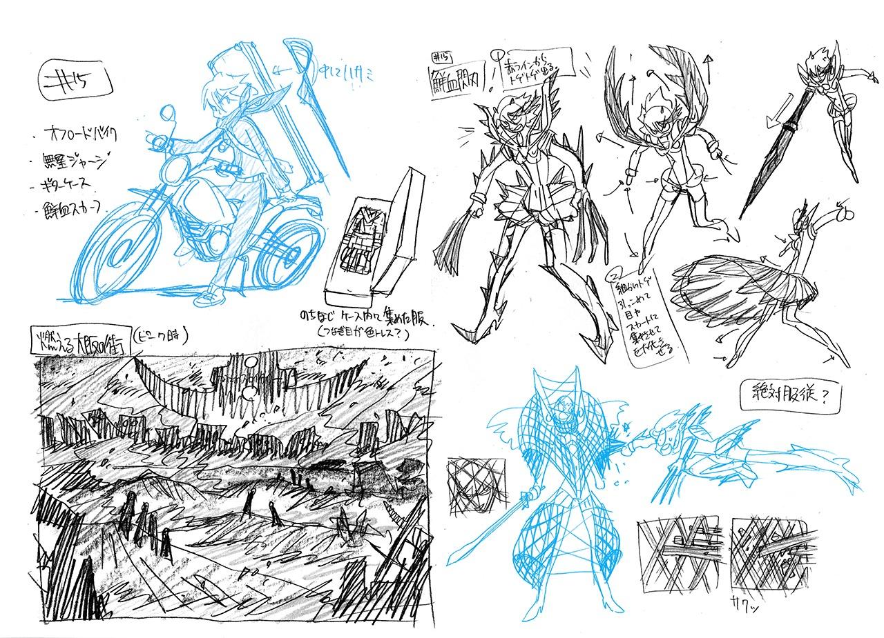 background_design character_design hiroyuki_imaishi kill_la_kill settei